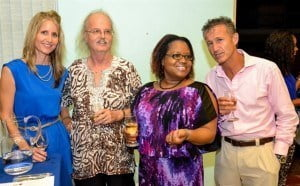 From left: Celeste Pontifex, Manager at Platinum Wines, who provided the mentors and entrepreneurs with a variety of wines; E.P. Brandon, Marcia Brandon and Massimo Fanchi, CoESL/BEF online mentor.