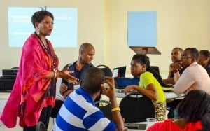 Participants pay keen attention to Jean Lloyd who conducted the first session of the boot camp.