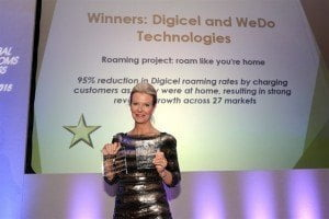 "Digicel board member, Vanessa Slowey was on hand to collect Digicel's award for its ""Roam Like You're Home"" service at the recently-held Global Telecoms Business Innovation Awards 2015"