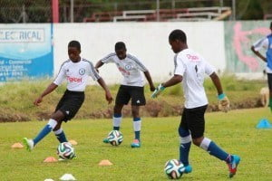 Training techniques learned by the players at the Digicel Kickstart Clinics enhance their speed and agility