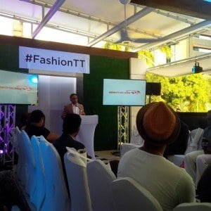 Minister Bharath as he delivers the Feature Address at ModeTT – the fashion export showcase