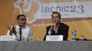 Hours after announcing his resignation, Fadi Chehadé, president and CEO of the Internet Corporation of Assigned Names and Numbers, left, fields questions from members of the Latin American and Caribbean Internet Addresses Registry (Lacnic) at the Lacnic 23 conference, held in Lima, Peru on May 21. At right is Oscar Robles-Garay, CEO of Lacnic. Photo: Gerard Best
