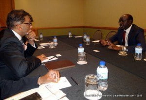 Minister Bharath (left) mulls the proposal from Dr. Mukhisa Kituyi, Secretary-General of UNCTAD