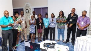 The 12 young entrepreneurs who have advanced in the Caribbean Call to Action Entrepreneurship Challenge. From left: Willan Mark of Grenada, Shamoy Hajare of Jamaica, Nikele Davis of Barbados,  Magaran Joseph of St. Lucia, Janice McLeod of Jamaica, Joshua Forte of Barbados, Jenell Pierre of Guyana, Devin Odlum of Antigua & Barbuda, Josanne Arnold and Korice Nancis, both of Trinidad and Tobago, Vincent Polak of Suriname, and Vijay Dialsingh of Trinidad and Tobago.