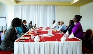 The Senator (3rd left) with members of the media at the luncheon meeting (EDITOR's NOTE: Hope Kamla does not feel because the Media is fed, then they must do as asked/told? If it is of the taxpayers' bill then Gov't must needs hear out journalists and not other way around!)