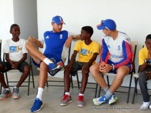 Following a Test Cricket practice session, the England Team spoke with children participating in the SFLI Barbados programme and saw them at work and play at the custom built Stephen Alleyne Sport for Life! Learning Centre at Kensington Oval.