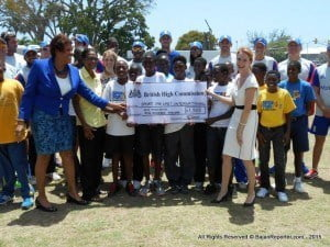 Local and visiting media thronged the occasion, as Chair of SFLI Barbados, Brenda Pope joined in a presentation from the British High Commissioner with England Team members...
