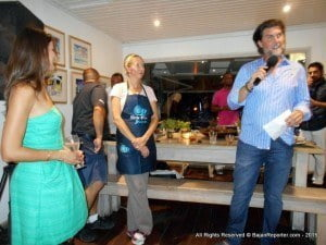 (L to R) Ian's wife Julie (profile), Nick Vieira (backing camera ensuring presentation is excellent), Chef Julie Frans from Miami on her 2nd stint in Barbados plus at the mic? Ian McNeel explaining the value of the Slow Food movement to not just Barbados but the while planet - CLICK FOR BIGGER
