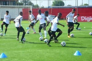 The footballers displayed exceptional ball skills at the Digicel Kickstart Clinics held in Suriname