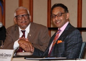 Minister Bharath (right) with Professor Clement Sankat, UWI Campus Principal