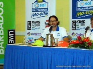 Neil Barnard tells reporters how 6-time WRC podium finisher Gardemeister to drive Simpson Motors modified Suzuki SX4