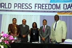 (L to R) Dr. Gillian Paul, Minister Karim, Ms. Alison Bethel-McKenzie, Minister Bharath, Dr. Arthur C. Potts