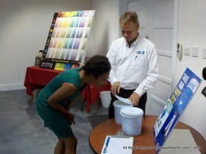 Harris Paints heldan 'open house' at the ColourCentre where the public gotto learn first-hand about the company's green products - this is a smell test with another brand, sustainability practices on waste reduction, energy conservation, employee well-being and productivity.