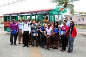 The interns in the ANSA McAL (Barbados) Ltd. internship programme get ready to tour the group's main facilities, transported in an 'ole-time' Bajan bus.