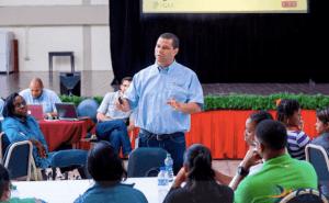 Global Leadership Interlink (GLI) facilitator Dr David Taylor at the University of Trinidad and Tobago (UTT) Leadership Development Workshop. Photo courtesy: Global Leadership Interlink