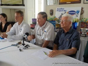 Burke (grey shirt) told the media during a press briefing held at the Yacht Club, Bay Street, the sole overseas competitor is Dr Robbie Yearwood from Grenada in the J24 Class event which is set to start at Carlisle Bay on Saturday.