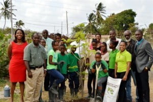 (From Left) Marsha-Ann Clarke - REAP Project Director, Osmond Harewood - Chairman of 4-H Foundation, Ivan Clarke - Principal of Hilda Skeene Primary, (Center) Jeff Shepherd - Marketing and Sales Manager of Simmons Electrical, Andrea Titus - Project Coordinator for the Youth Development Programme of the Division of Youth, Stefan Knights - Special Envoy to the Caribbean Youth Environment Network on SIDS, (front) Debbie Rhynd Safety Officer/PRO of SBRC, (back) Hamilton Blackman - Program Officer of the 4-H Foundation, far right - David Bynoe - National Coordinator of the GEF Small Grants Programme implemented by the UNDP with students of the Hilda Skeene Primary School
