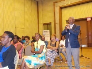 Dr Oscar Jordan in a comment from the audience says taking sugar from Barbadian diets is an uphill battle, when he coordinated the Barbados Association of Retired Persons to go on a salt reduction plan there was no end of cooperation, however, as soon as he wanted to draw attention for a similar initiative with sugar he met stumbling blocks if not outright resistance.