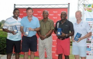 The winning team (l to r) Dave  Cameron, Pete Russell, Cammie Smith, Sir. Vivian Richards and David  Brookes