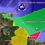 (CLICK FOR BIGGER) Effectively the decree claims all the territorial waters within a 200 miles range and blocks Guyana's access to the Atlantic Ocean. Allowed to stand, Guyana would be trapped by Venezuela as the map indicates.