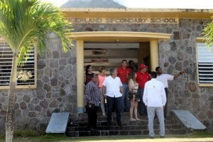 The Venezuelan delegation touring the Gingerland Secondary School assessing the electricity supply there