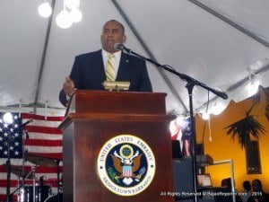 The formal ceremony included a presentation of colors by the United States Marines, the singing of the Barbados national anthem and the United States national anthem by Paula Hinds, and Lori Boes respectively, and an invocation by Pastor Hector Pearson. Minister of Tourism and International Transport, Richard Sealy, and U.S. Ambassador to Barbados, the Eastern Caribbean, and the OECS, Dr. Larry Palmer both delivered remarks.