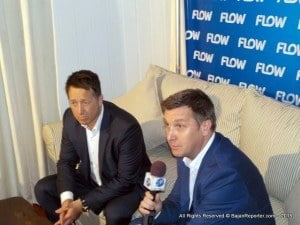"""Reid (seated far left) noted Flow will also use its quad play technology to ensure that viewers have access across multiple channels so that they can access the programme when they want and how they want. """"Flow customers,"""" he explained, """"will be able to access Caribbean Next Top Model before other viewers on Flow TV, via the Flow on Demand platform at their convenience. They can even access information about the programme on their smart phones and other mobile devices."""""""