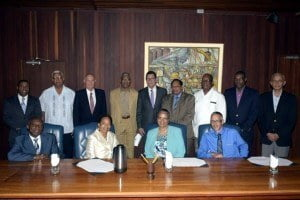 (Backrow, L-R) Dr. Justin Ram, Director of Economics, CDB; Minister of Agriculture, Noel Holder; Andrew Dupigny, Director of Projects (Ag), CDB; President of Guyana, His Excellency Brigadier David Granger; CDB President, Dr. William Warren Smith; Prime Minister, Moses Nagamootoo; Minister of Finance, Winston Jordan; Minister of Public Infrastructure, David Patterson; and Minister of Communities, Ronald Bulkan. (Seated, L-R) Foreign Affairs Minister, Carl Greenidge; Patricia McKenzie, Vice-President (Operations), CDB; Monica La Bennett, Deputy Director, Corporate Planning, CDB; and Minister of Business and Investment, Dominic Gaskin.