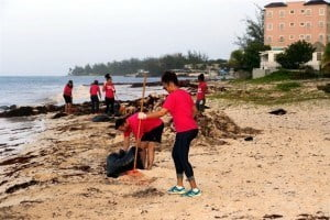 1. Digicel staff members took part in a beach clean-up recently in an effort to assist with the battle against the Sargassum seaweed affecting local beaches.