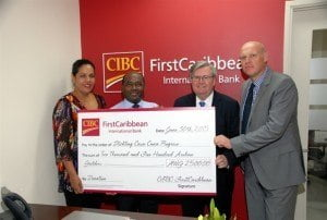 The donation cheque was received by Mr. Carlos Albertus, Vice President of the Board and the Director, Mrs. Quilin Arends, pictured at right.