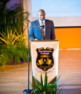 Dr Noel Woodroffe, founder and chairman of Northgate College, speaks at the Graduation and Awards Ceremony, Learning Resource Centre, The University of the West Indies, St Augustine