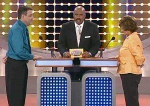 (IMAGE VIA - tbo.com) Family Feud (U.S.) is hosted by the multi-hyphenate standup comedian, actor, author, deejay and Emmy® Award-winning talk show host Steve Harvey.