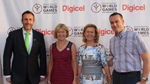 (from left) Phillip Grant, Irish Consul to the San Francisco, Mary Davis, President of Special Olympics Europe/Eurasia; Ann Anderson, Irish Ambassador to the US and John Delves, Digicel Regional CEO at the Digicel appreciation event for supporters of the Special Olympics World Games 2015
