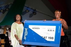 At the recently held prestigious Pan Fusion event staged at the Ilaro Court, tagged 'Sweet Pandemonium,' Jewel Godett was the lucky recipient of a Travel Certificate to fly blue to New York compliments US air carrier for the 2015 Barbados Crop Over Festival Jet Blue.