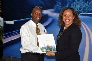 Top Sales Performer Michael McClean (left) was congratulated by Margaret Hoyte, Sales and Marketing Manager, MQI.