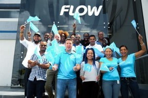 """Staff members arrived to a 'blue carpet' event and were treated to energetic performances from Flow Ambassadors Peter Ram and Shanta Prince. Three lucky employees also won 48"""" Samsung Smart TVs during the interactive session which lasted just over three hours."""