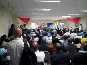 Audience at the Emancipation Day Lecture, which was delivered by the Prime Minister of St. Vincent and the Grenadines, Dr. Ralph Gonsalves (at podium), St. Martin, USM. (CLF photo)
