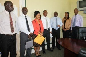 (l-r) TVET Coordinator in Nevis Orette Smith, Federal Education Planner Quinton Morton, Education Planner within the Department of Education Nevis Dr. Neva Pemberton, Premier of Nevis and Minister of Education Vance Amory, Caribbean Development Bank Operation Officer (Education) Dr. Martin Baptise, Legal Counsel Alana Goodman Smith and Operation Officer (Civil Engineer) M. Stephen Lawrence