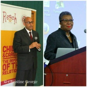 Senator SIMON STIELL, Minister of State, Ministry of Education and former Permanent Secretary, ELIZABETH HENRY-GREENIDGE, Ministry of Social Development at the 2015 child and caregiver conference