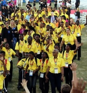 The Jamaican contingent parading into the Los Angeles Coliseum at the Opening of the Special Olympic World Games 2015