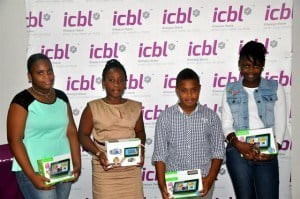 (Left to Right), Ariana Ryan, Ashlee Davis, Khaleel Wilkinson and Nagia Brewster will be starting Secondary School in September with new tablets, backpacks and stationery from ICBL.