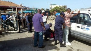 Officers of the Special Services Unit (SSU) conduct random search at ferry terminal in Basseterre