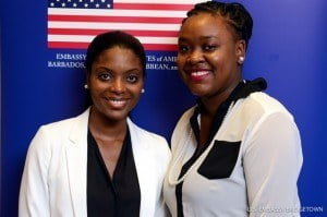 Barbadian Charlene James (left), and Vincentian Kimberley Cambridge will be traveling to the United States as Fulbright Foreign Students.