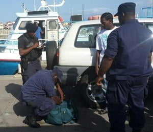 Operation being carried out at the ferry terminal in Basseterre