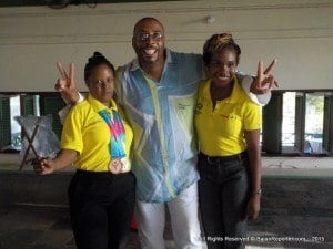 (L to R) Felicia McLennan, Special Ambassador John King and Shakida Grant, Marketing Executive with Digicel Barbados