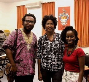 Caribbean writers in Dominica for the Nature Island Literary Festival and Book Fair 2015, L-R: Vladimir Lucien (St. Lucia), Oonya Kempadoo (Grenada/Guyana), Faizah Tabasamu (Rochelle Ward), (St. Martin). (© RW photo)