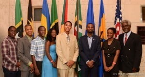 The 2015 Eastern Caribbean Youth Ambassadors (left to right) Rol-J Williams, Kamalie Mannix, Alron Henry, Tessa Moncherie, Matthew McLawrence, Timothy Ferdinand (mentor), and Adiel Charles pose with U.S. Ambassador to Barbados, the Eastern Caribbean, and the OECS, Dr. Larry Palmer.