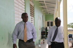 Premier of Nevis and Minister of Education Vance Amory and Permanent Secretary in the Premier's Ministry Wakely Daniel visiting the Ivor Walters Primary School at Brown Hill on August 18, 2015, for a first-hand look at ongoing works under the Schools Rehabilitation Project funded by the Nevis Island Administration