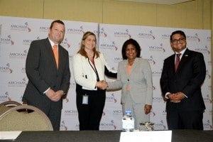 (L to R) Mr. Reiner Wolf, Managing Director, DHL; Ms. Catalina Herrera Roca, Vice President, American Chamber of Commerce of Trinidad and Tobago; Senator the Honourable Paula Gopee-Scoon; Mr. Nirad Tewarie, CEO, AmChamTT