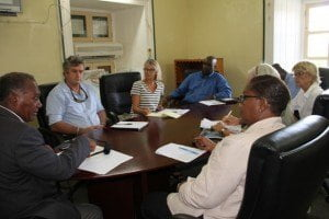 Premier of Nevis Hon. Vance Amory addressing members of the private sector at a recent meeting of the Nevis Island Administration (NIA) Conference Room.